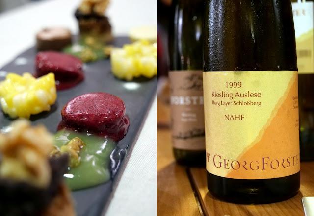 Dessert mit Riesling Auslese vom Weingut Forster.