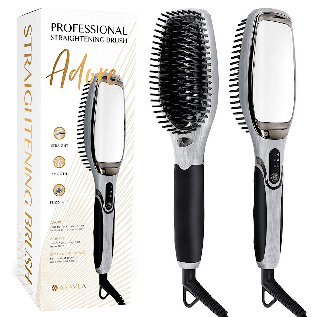 AsaVea Hair Straightener Brush 3 0 MCH Heating Technology and Auto Temperature Lock Anti-Scald Design