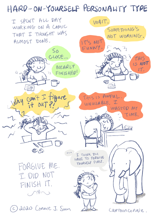 comic strip, illustration, humor, perfectionism, creative process, journal comic, sketchbook, comics, personality type
