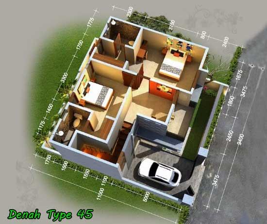 denah rumah type 45 3 dimensi