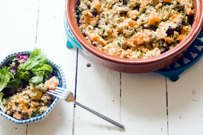 Sweet Potato, Aubergine & Quinoa Salad, with a tahini dressing from Mandy Mazliah / Metro.co.uk