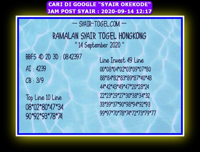 Kode syair Hongkong Senin 14 September 2020 252