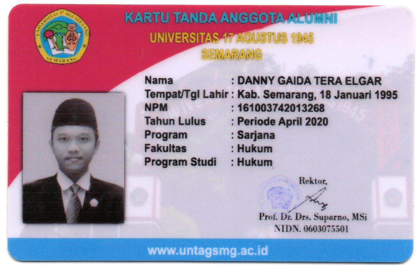 Kartu Tanda Anggota (KTA) Alumni Fakultas Hukum Universitas 17 Agustus 1945 (UNTAG) Semarang