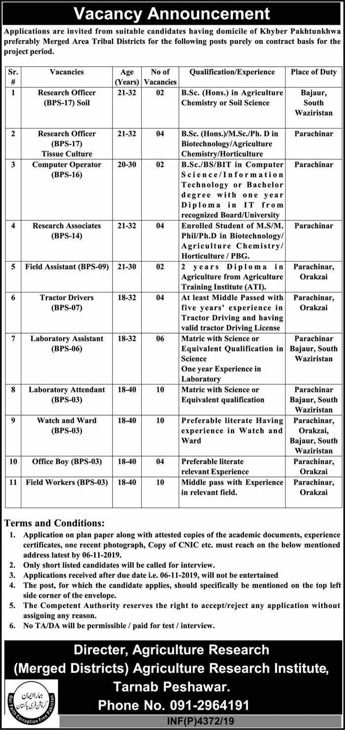 Jobs in Agriculture Department Govt of KPK