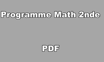 Programme Math Seconde PDF