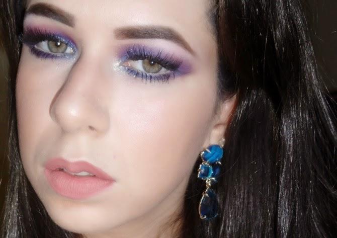 Maquiagem Roxo com Azul para Festas