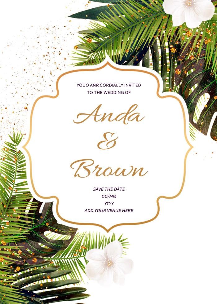 White Elegant Simple Nordic Style Wedding Invitation