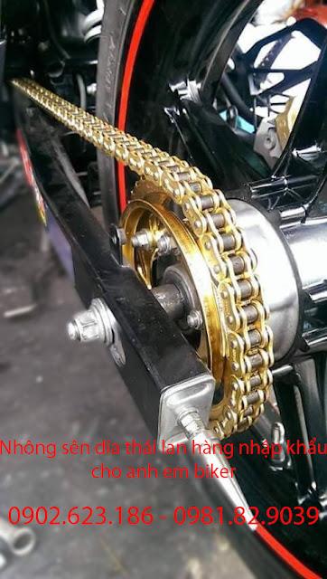 Thay nhông sên dĩa vàng, NSD chính hãng cho xe Exciter 2010