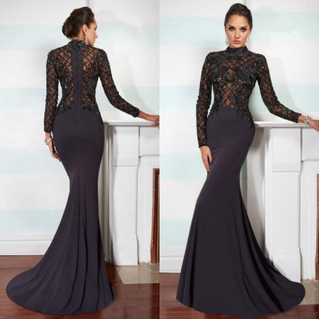 فستان سهرة وسوارية اسود اللون شيفون من الصدر وطويل موديل 2020