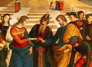 Raffaello Sanzio La tecnica pittorica - particolare dello sposalizio della vergine