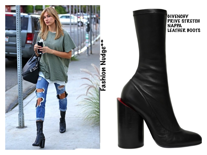 Boots Lust - Hailey Baldwin in GIVENCHY PRIVE STRETCH NAPPA LEATHER BOOTS -  West Hollywood 82af43938