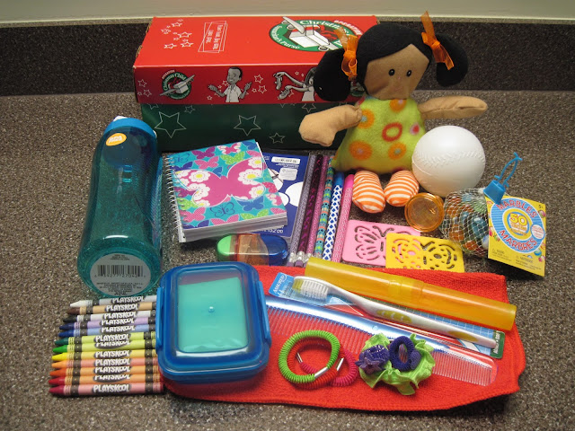5 to 9 year old girl box example for Operation Christmas Child.