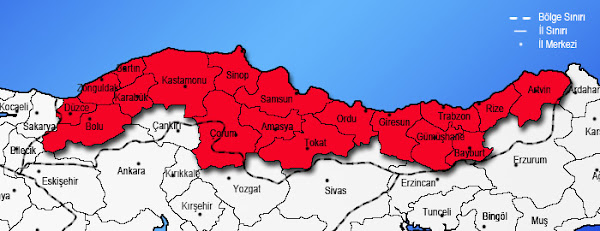 Karadeniz Bölgesindeki illeri gösteren harita
