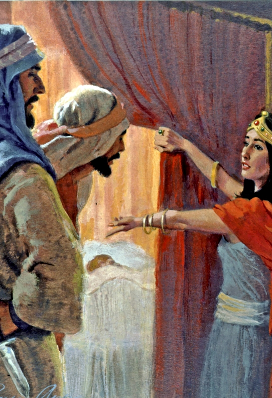 And Michal took an image, and laid it in the bed, and put a pillow of goats' hair for his bolster, and covered it with a cloth. And when Saul sent messengers to take David, she said, 'He is sick.'