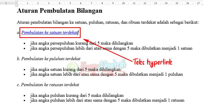 Tampilan teks setelah dimasukkan hyperlink
