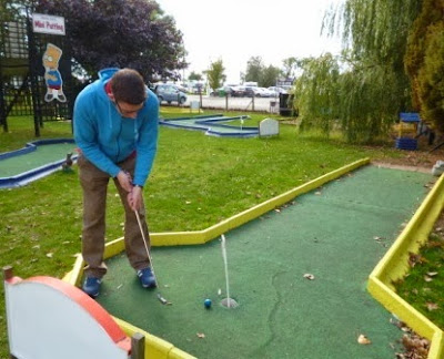 Playing the old Stonham Barns Crazy Golf course
