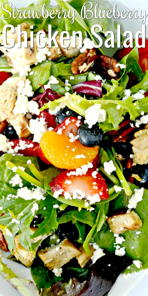 Strawberry Blueberry Mandarin Chicken Salad with Pecans drizzled with orange dressing on a white plate with Strawberry Blueberry Chicken Salad words in white at the top.