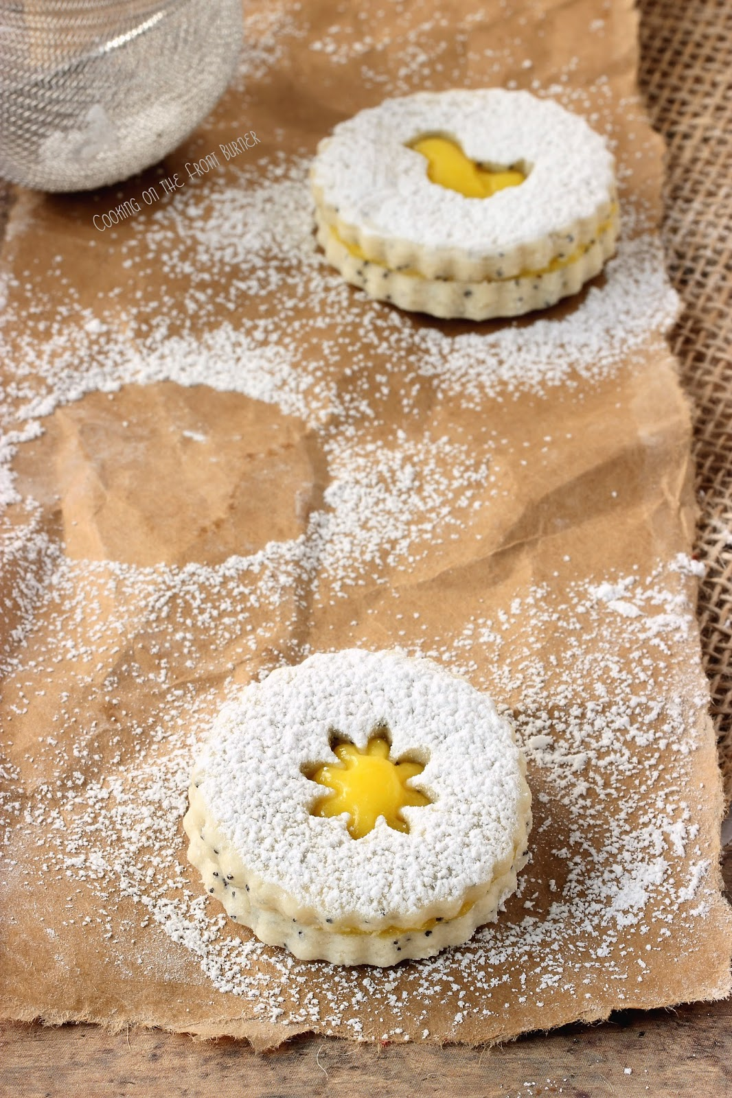 Poppy Seed Lemon Linzer Cookies | Cooking on the Front Burner #lemon #linzercookies