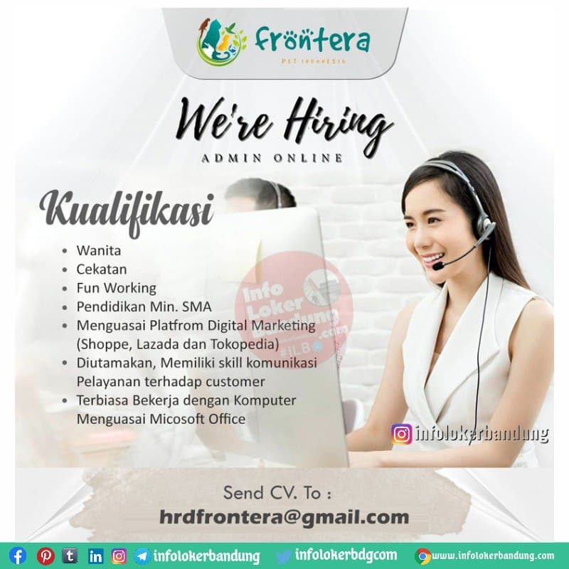 Lowongan Kerja Admin Online Shop Frontera Pet Indonesia Bandung Juli 2021