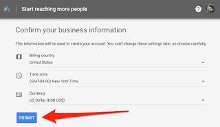 Google ads billing information