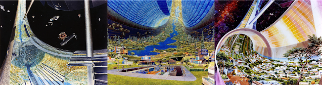 Visualizations of the interior of a toroid space habitat: Left to right, under construction and a landscape oof the interior; and a cutaway of the interior with homes and landscaped plants.