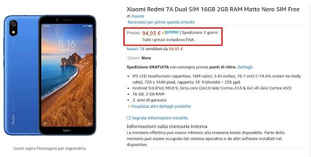 Xiaomi Redmi 7A arriva su Amazon: Snapdragon 439, Android 9.0 Pie a 94 euro