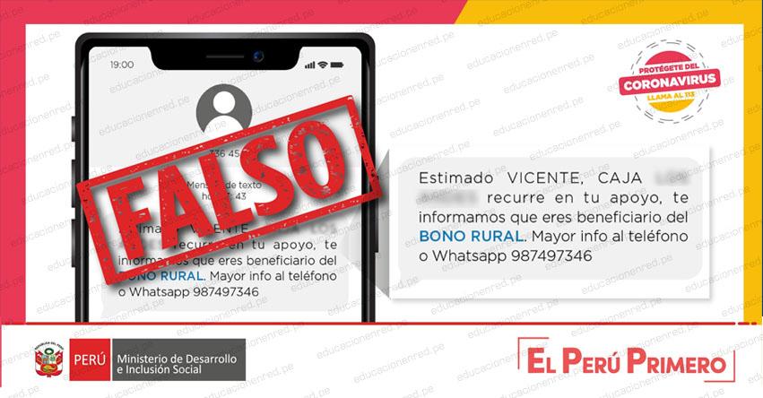 MIDIS advierte que no existen mensajes de texto que informen sobre el beneficio del Bono Rural