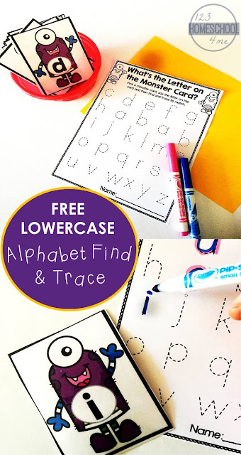 FREE Alphabet Find and Trace Activity for kids - this is such a clever, fun way for preschool, prek, and kindergarten age kids to practice making lowercase letters