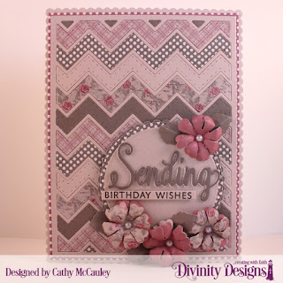 Stamp/Die Duos: Sending My Love, Paper Collections:Shabby Pastels, Shabby Rose, Custom Dies: Chevron Background, Sentiment Strips, Scalloped Rectangles, Scalloped Circles, Pierced Circles, Circles, Pretty Posies