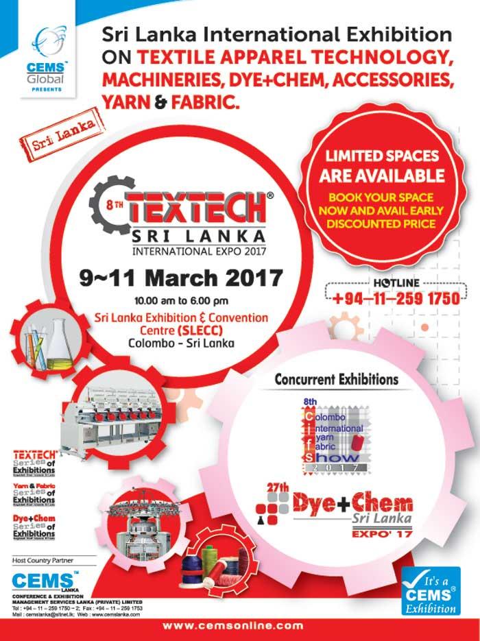 Participate Textech Sri Lanka International Exhibition 2017 - Limited Spaces.