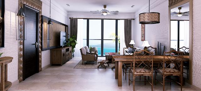 Phòng khách dự án Beau Rivage Trần Phú