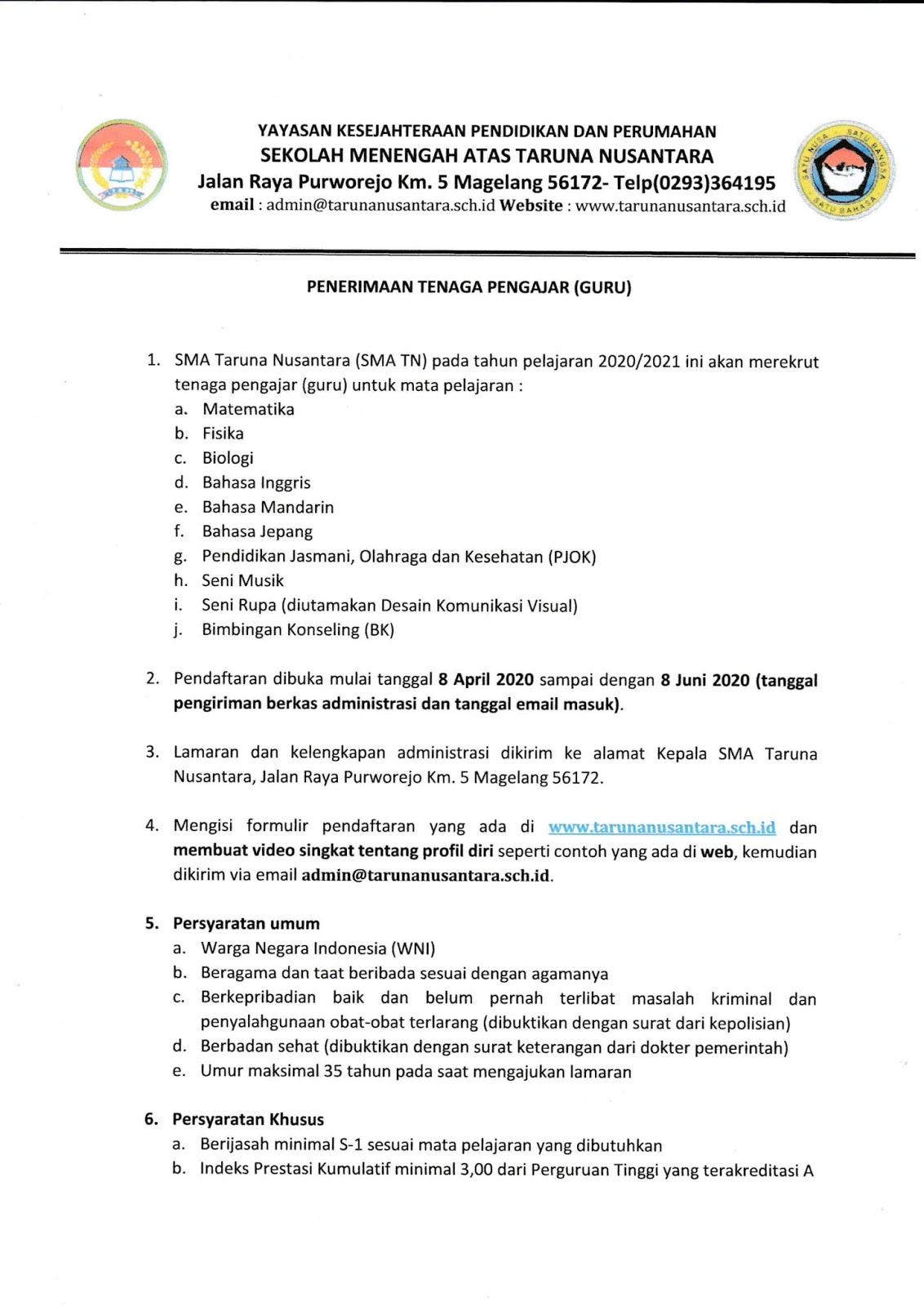 Lowongan Kerja Terbaru SMA Taruna Nusantara Tenaga Pengajar Bulan April 2020