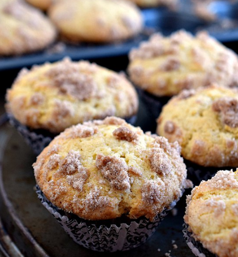 Sour Cream Coffee Cake Muffins #muffins #desserts #cakes #coffee #sugar
