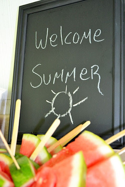 welcome summer sign, watermelon pops, summertime fun