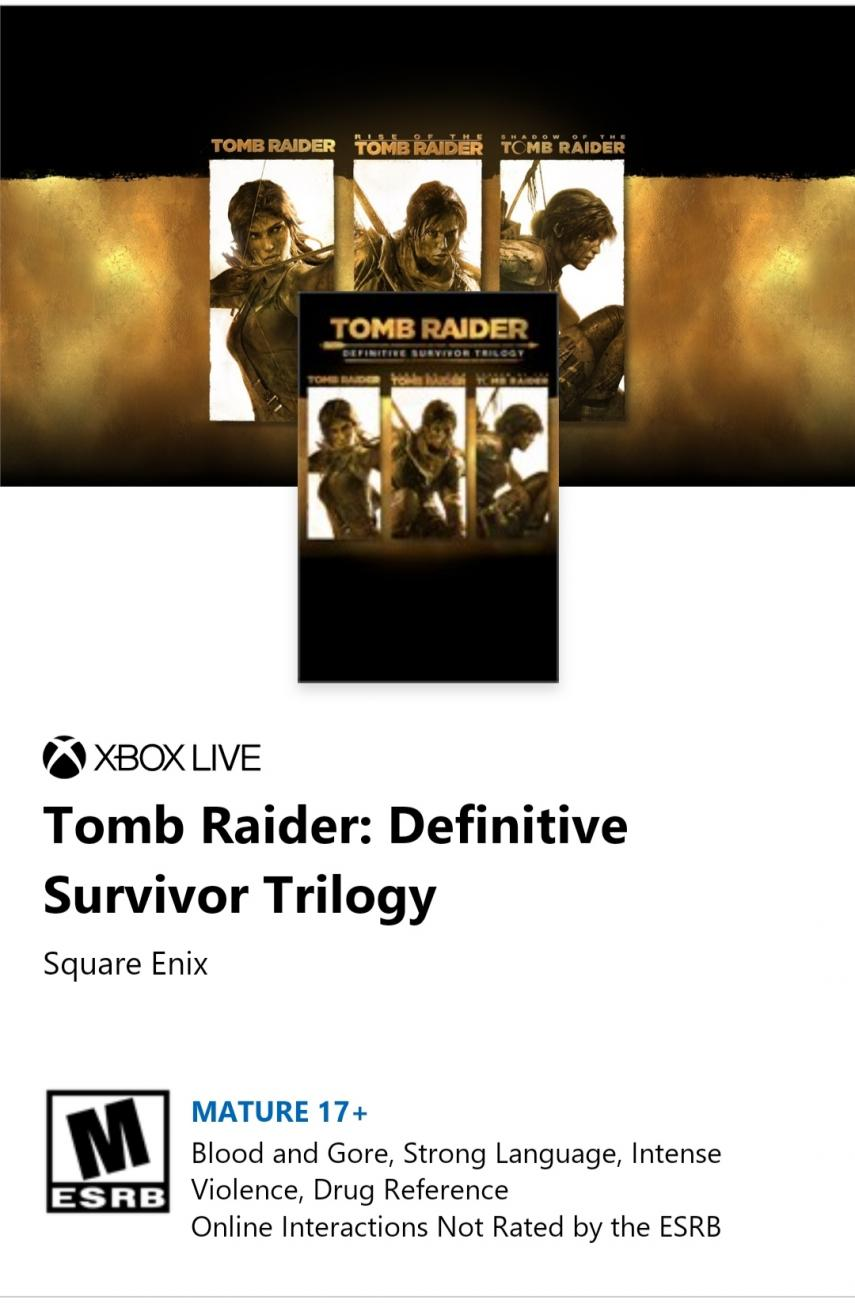 Leaked Tomb Raider: Definitive Survivor Trilogy, the edition with the three modern games by Lara Croft