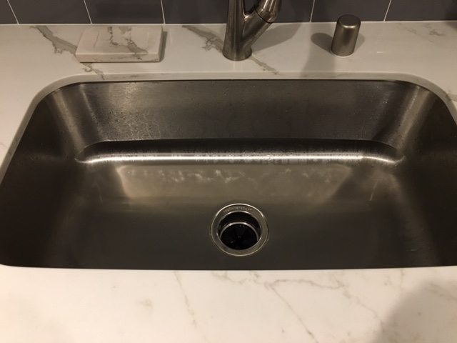 renovated kitchen, gray and white farmhouse sink