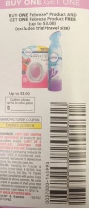 "BOGO FREE Febreze Coupon from ""P&G"" insert week of 7/7""limit 2"" (up tp 3.00 max value)."