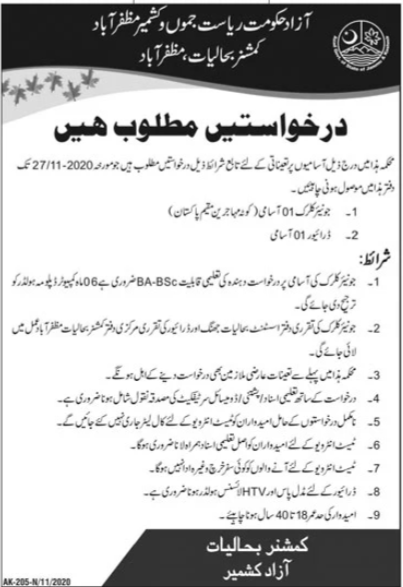 Commissioner Office Job Advertisement in Pakistan Jobs 2021