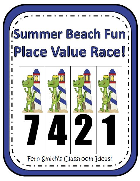 Fern Smith's Place Value Race Game Gator Summer Beach Fun