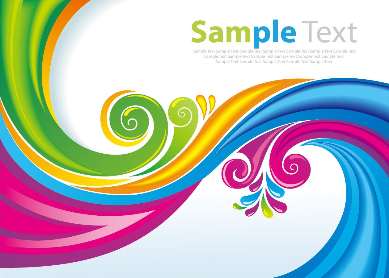 ai eps イラストレーター  虹色の曲線の背景 Rainbow Floral Swirls