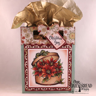 Our Daily Bread Designs Stamp: Poinsettia Box, Paper Collection: Retro Christmas, Custom Dies: Card Caddy & Gift Bag, Gift Bag Handles & Topper, Pierced Rectangles, Pierced Squares, Layered Lacey Squares, A Gift For You, Christmas Bells