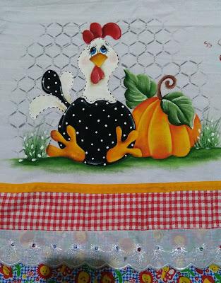 pintura em tecido semaninha de galinha - galinha com abobora