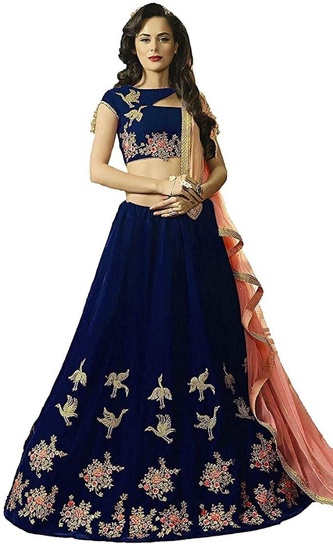 Saptarangi Women's Velvet Lehenga Choli (Blue, Free Size)