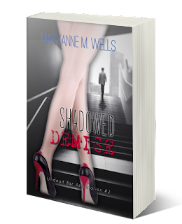 In the foreground, a woman's shapely legs in stockings and red and black high heels. A man in the distance walks up a flight of stairs. Maryanne M. Wells. Shadowed Demise. Undead Bar Association 2.