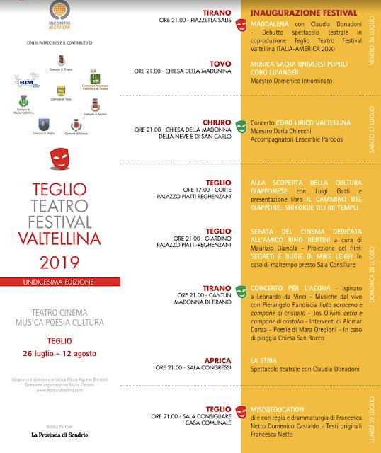 Programma Teatro Teglio Festival 2019
