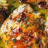 Skillet Chicken Recipe with Bacon and White Wine Sauce