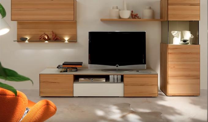 ديكور خلفية التلفاز lcd من الخشب في غاية الروعة