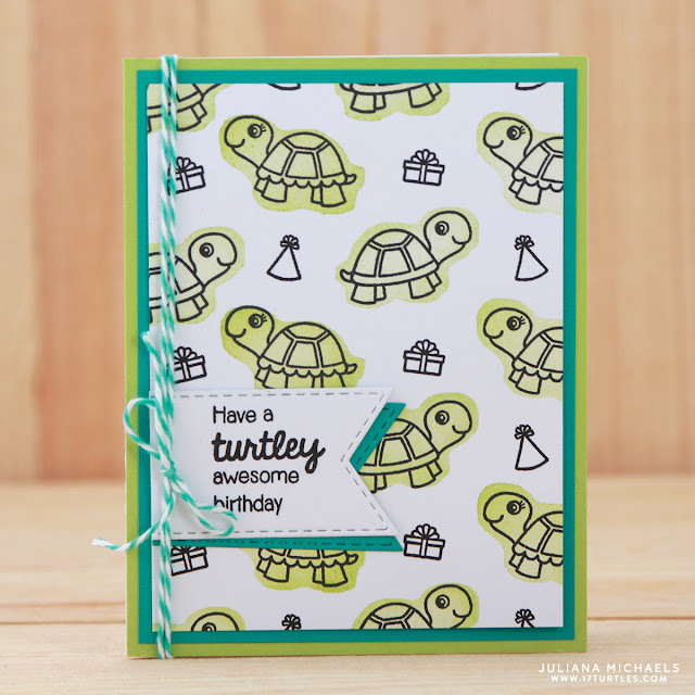 Turtlely Awesome Birthday Card by Juliana Michaels featuring Sunny Studio Stamps Turtley Awesome Stamp Set and a tutorial on How to Create a Stamped Background Pattern & Stamp with the Back of your Clear Stamps