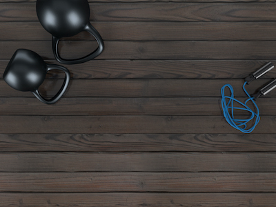 3D Metal kettle balls and jumping rope top view background