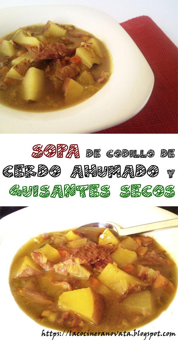 la cocinera novata SOPA DE CODILLO DE CERDO AHUMADO Y GUISANTES SECOS GUISO RECETA NORTEAMERICANA LEGUMBRES